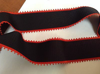 """10 Yards 2"""" VINTAGE ANTIQUE Black and Red Grosgrain Ribbon FRENCH"""