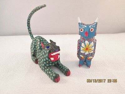 Hand carved and painted primitive wood Mexico made Tiger & Bird