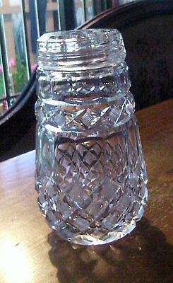 Lovely Diamond Cut Crystal Glass Sugar Shaker/ Sifter with Original Lid/Top