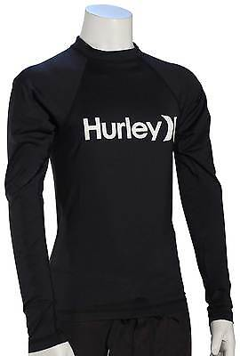 Hurley Boy's One & Only LS Rash Guard - Black / White - New