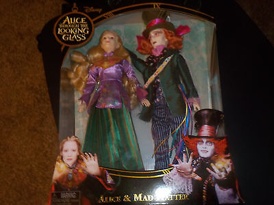 new set of 2 disney alice through the looking glass mad hatter & alice dolls