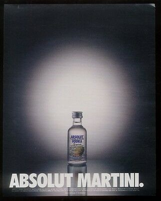 2000 Absolut Martini mini vodka bottle & olive photo ad