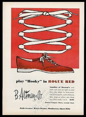 1958 Sandler of Boston rogue red women's shoes vintage fashion print ad