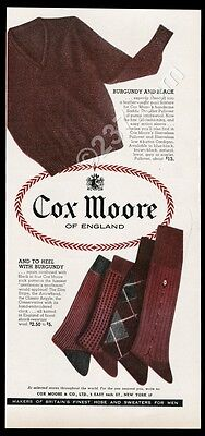 1958 Cox Moore of England men's sweater socks fashion vintage print ad
