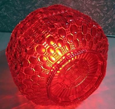 Vintage Retro Ruby Red Light SHADE - Textured Plastic Ceiling / Lamp