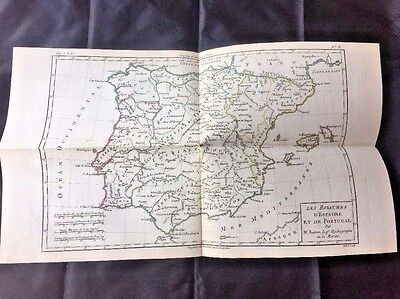 1780 SPAIN Map by ROBERT BONNE, PORTUGAL MEDITERRANEAN COLOR