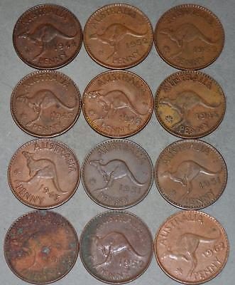 Australia Penny Lot of 12 Coins