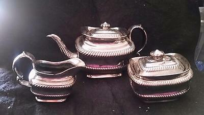 Antique English Silver Lustre Luster 3 Piece Teaset Tea Set Early 19Th Century