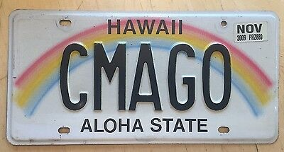 """Hawaii Rainbow Vanity License Plate """" Cmago """" See Ma Mom Mama Mommy Mother Go"""
