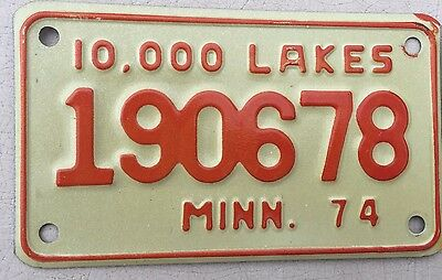 """Mint 1974 Minnesota Motorcycle Cycle License Plate  """" 190678 """" Mn 74"""