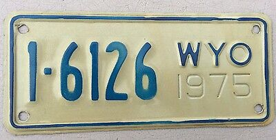 "Mint  1975 Wyoming Motorcycle Cycle License Plate  "" 1  6126 "" Wy 75 Casper"