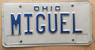 """Ohio Vanity License Plate """" Miguel """"   Spanish Mike  Michael Mikey Micheal"""