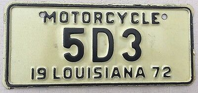 "1972 Louisiana Motorcycle Cycle License Plate "" 5 D 3 "" La 72  Very Low Number"