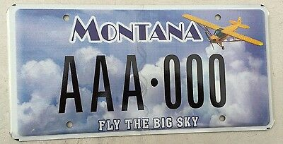 "Montana Sample License Plate "" Aaa 000 "" Fly Flying The Big Sky Pilot Airplane"