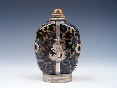 Porcelain Floral Patterns Painted Snuff Bottle w/ Silver Dragon Phoenix Overlay
