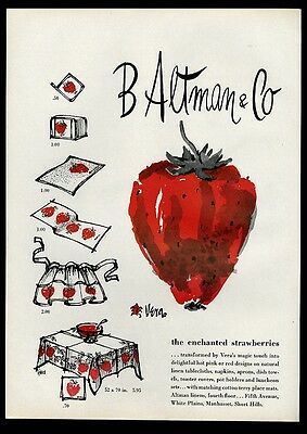 1961 Scarves By Vera strawberry design towel tablecloth etc B. Altman print ad