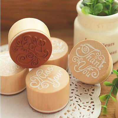 DIY Floral Flower Pattern Round Wooden Rubber Stamp Scrapbook Letter Stamp Sale