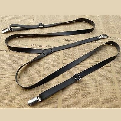 Newest Straps A Mens Womens Leather Suspenders Y-Back Retro Braces Clip-On
