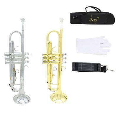 New Trumpet Bb B Tone Silver/Golden with Mouthpiece Gloves Bag+Free Ship