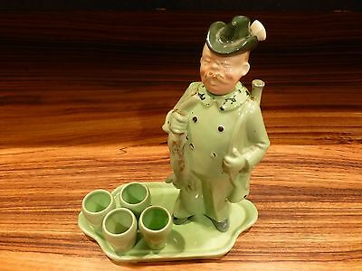 Rare Antique 6 Piece Marked Schafer Tray Figural Liqueur Set-Germany [Y8-W7-A9]