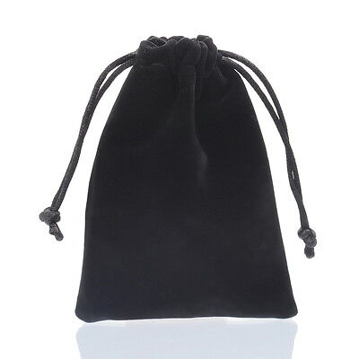 1PC New Black Double-sided Flocking Velvet Drawstring Pouches Jewelry Gift Bag