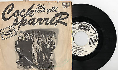 "COCK SPARRER We Love You / Chip On My Shoulder, 7"" PUNK OI SPAIN 1977 RARE PROMO"