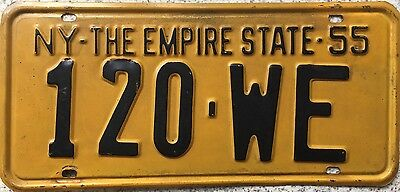 GENUINE 1955 New York Empire State USA License Licence Number Plate 120 WE