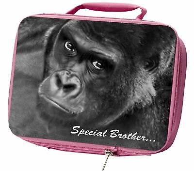 'Special Brother' Gorilla Insulated Pink School Lunch Box Bag, AM-6BRO1LBP