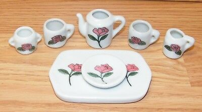 Collectible Four Piece Set Ceramic Pink Rose Plate & 3 Different Sized Cups!