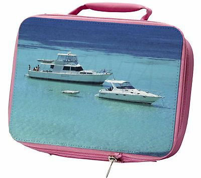 Yachts in Paradise Insulated Pink School Lunch Box Bag, BOA-5LBP