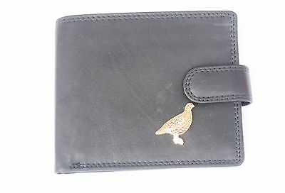 Grouse motif Mens Leather Wallet BLACK or Brown shooting  Gift