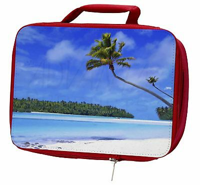 Tropical Paradise Beach Insulated Red Lunch Box, W-6LBR