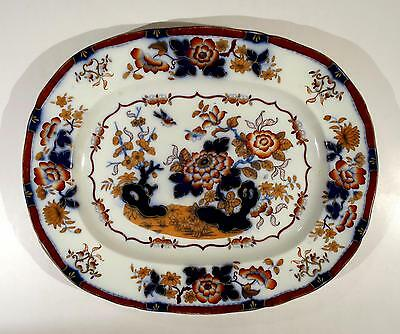 Antique Porcelain Hand-Painted Serving Platter Tray Bb New Stone Oriental Japan