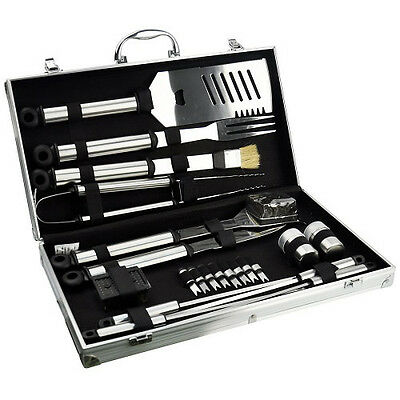 Large 21pcs Piece BBQ Barbeque Stainless Steel Cutlery Cooking Tool Set Kit Case