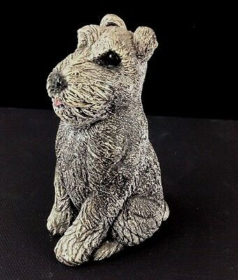 "1984 BANDANNA SCULPTURES 3.75"" Terrier Dog Sandstone Figurine Signed ""Parton"""