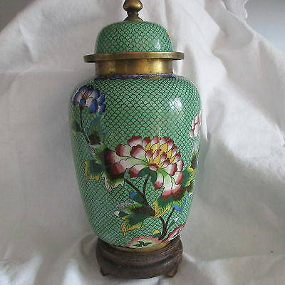 Japanese Cloisonne 1946 Green & lotus flowers and leaves blue wine yellow white