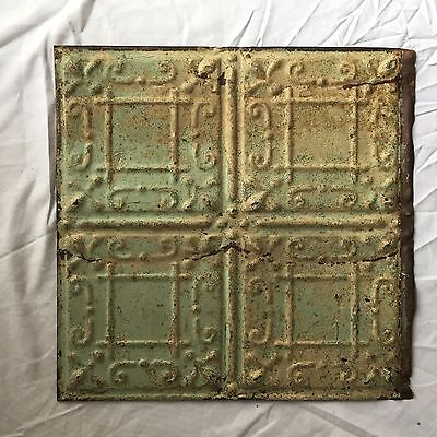 1890's 12 x 12 Antique Tin Ceiling Tile Reclaimed 350-17 Green Anniversary Metal