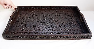 Beautiful Original Vintage Hand Carved Wooden Large Serving Tray - 54cm Width!