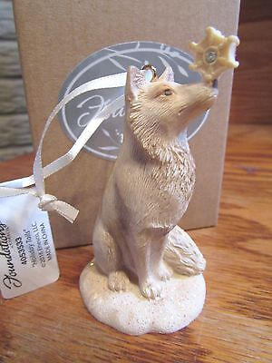 Foundations By Karen Hahn ENESCO Resin Ornament Arctic Fox w Snowflake NIB!