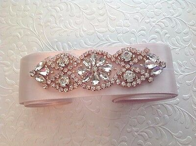 Lovely Bridal Belt w Rhinestone and Beaded Applique Prong Set in Rose Gold
