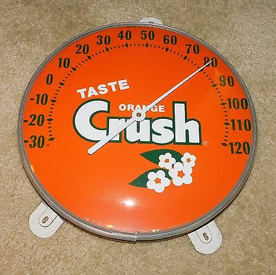 "1950s ORANGE CRUSH SODA Round 12"" THERMOMETER Rare TASTE Version (STUNNING!!!!)"