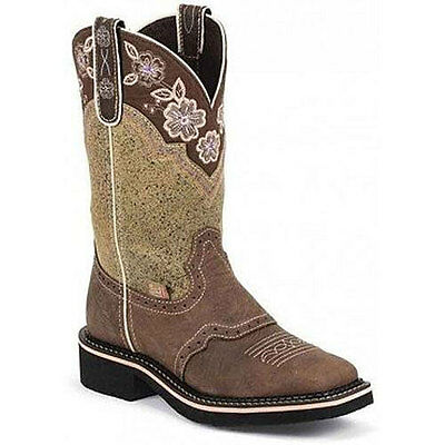 L9951 Justin Ladies Barnwood Brown Gypsy Cowboy Boot Embroidered Flower Collar
