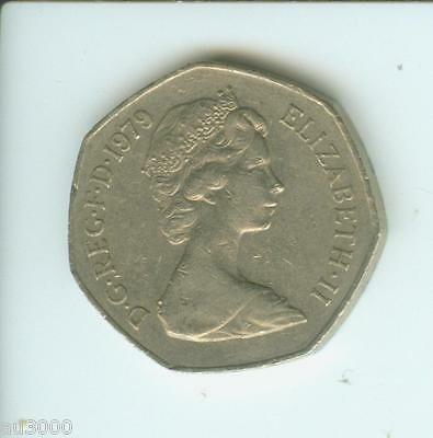 1979 GREAT BRITAIN LARGE OLD 50 NEW PENCE 50p UNITED KINGDOM COIN GB UK ENGLAND