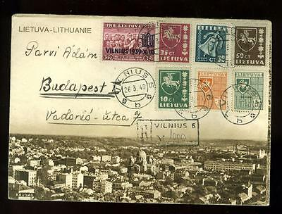 Lithuania:  March 1940 illustrated R-cover to Hungary