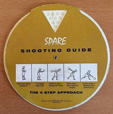 Women's Vintage Bowling Spare Shooting Guide Calculator 1967 Wheel Slide Chart