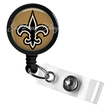 Retractable Badge Reel Name Tag ID Pull Clip Holder Lanyard New Orleans Saints
