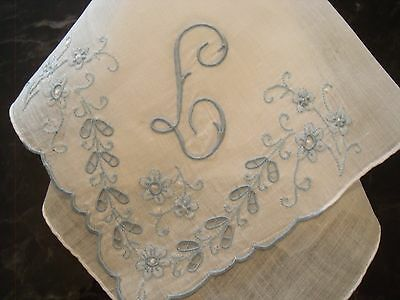 Vintage Handkerchief  White  Linen Monogram  L Embroidered in Blue with Flowers