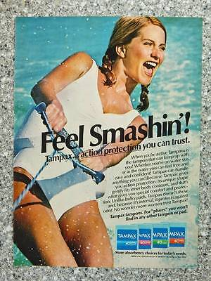 1982 Tampax Tampons - Vintage Magazine Ad Cute Girl in Bathing Suit Waterskiing
