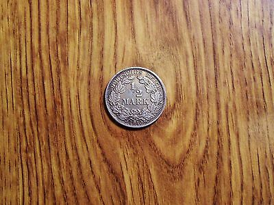 Germany 1/2 Mark 1915 A Older Silver Coin (101)