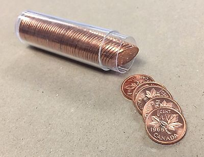 {BJSTAMPS} 1965 Canada Penny Small Cent Full Roll of 50 in Tube Red UNC